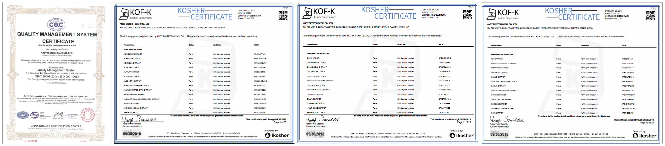 Certificates: ISO, Kosher